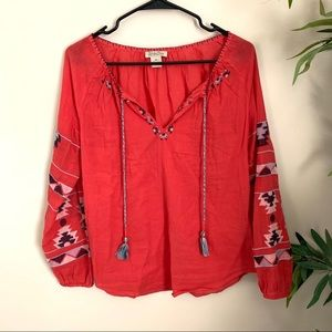 LUCKY BRAND▪️Aztec Embroidered L/S Blouse. XS